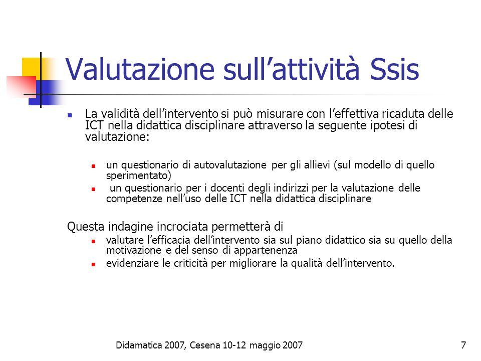 Didamatica 2007, Cesena 10-12 maggio 20078 Gestire uno spazio Web personale Orientare i futuri insegnanti ad avere un ambiente personale autogestito utile a sperimentare moduli didattici innovativi affrontare le problematiche della collaborazione/comunicazione a distanza.