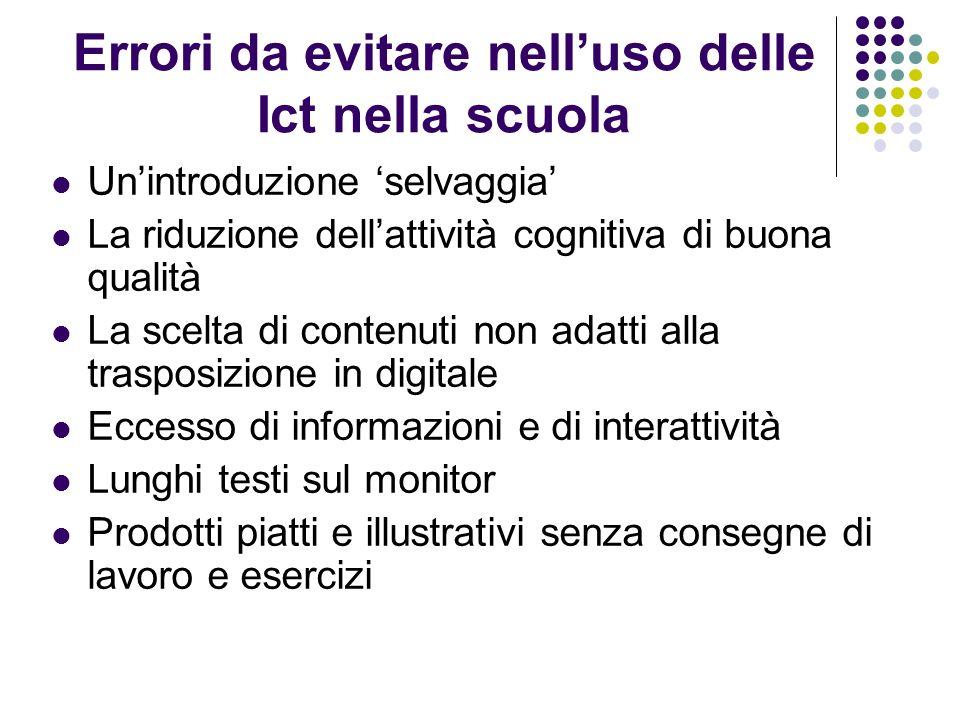 Errori da evitare nelluso delle Ict nella scuola Unintroduzione selvaggia La riduzione dellattività cognitiva di buona qualità La scelta di contenuti