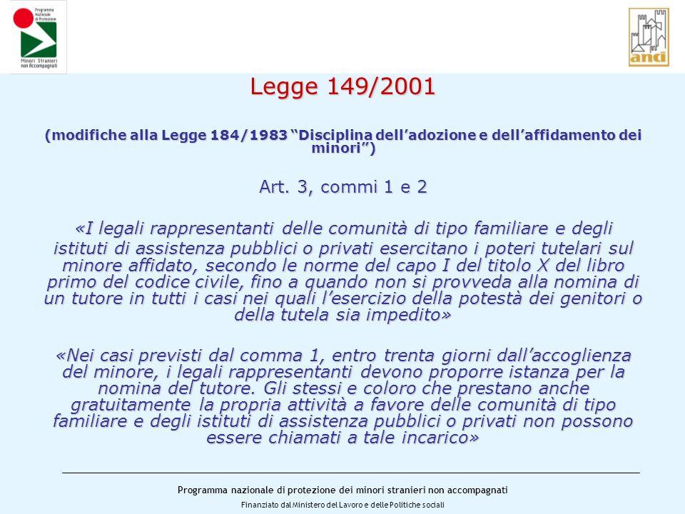 Programma nazionale di protezione dei minori stranieri non accompagnati Finanziato dal Ministero del Lavoro e delle Politiche sociali Legge 149/2001 (modifiche alla Legge 184/1983 Disciplina delladozione e dellaffidamento dei minori) Art.