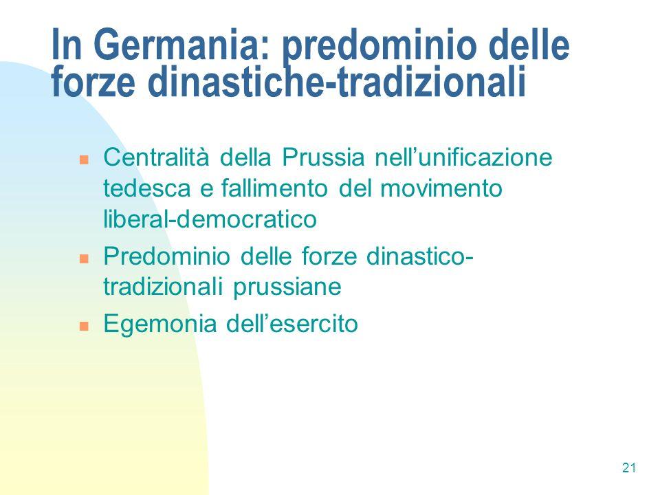 21 In Germania: predominio delle forze dinastiche-tradizionali Centralità della Prussia nellunificazione tedesca e fallimento del movimento liberal-de