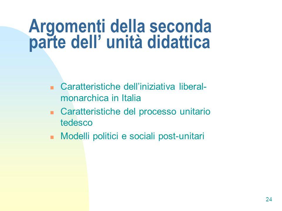 24 Argomenti della seconda parte dell unità didattica Caratteristiche delliniziativa liberal- monarchica in Italia Caratteristiche del processo unitario tedesco Modelli politici e sociali post-unitari