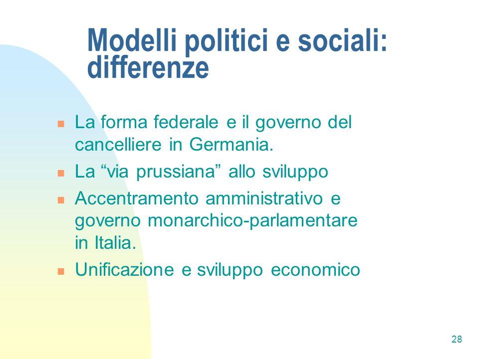 28 Modelli politici e sociali: differenze La forma federale e il governo del cancelliere in Germania. La via prussiana allo sviluppo Accentramento amm