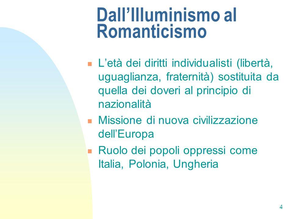 4 DallIlluminismo al Romanticismo Letà dei diritti individualisti (libertà, uguaglianza, fraternità) sostituita da quella dei doveri al principio di n