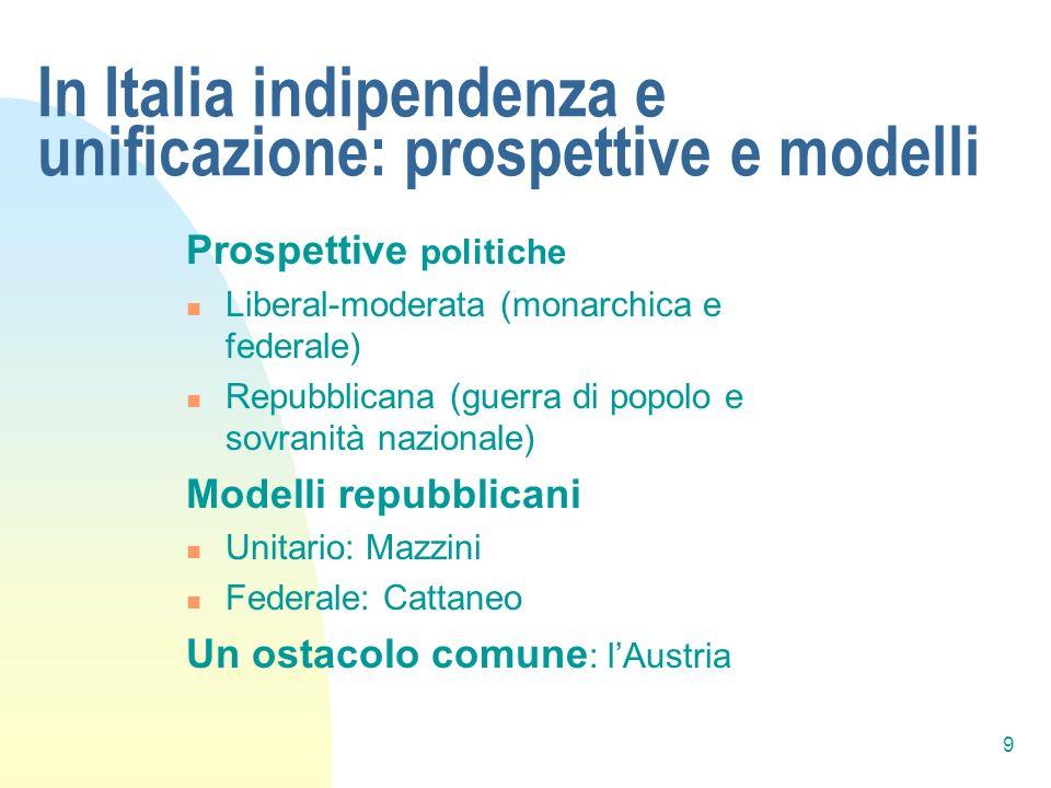 9 In Italia indipendenza e unificazione: prospettive e modelli Prospettive politiche Liberal-moderata (monarchica e federale) Repubblicana (guerra di