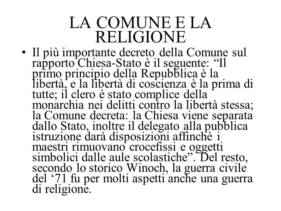 LA COMUNE E LA RELIGIONE Il più importante decreto della Comune sul rapporto Chiesa-Stato è il seguente: Il primo principio della Repubblica è la libe