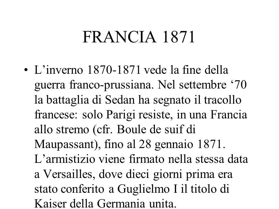 FRANCIA 1871 Linverno 1870-1871 vede la fine della guerra franco-prussiana. Nel settembre 70 la battaglia di Sedan ha segnato il tracollo francese: so