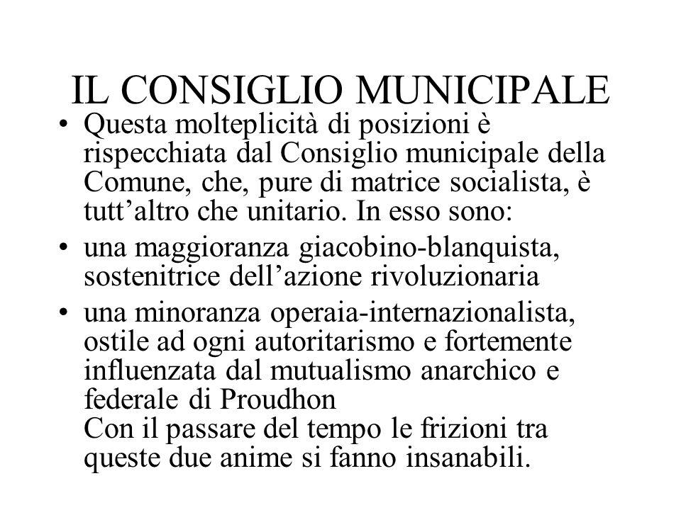 IL CONSIGLIO MUNICIPALE Questa molteplicità di posizioni è rispecchiata dal Consiglio municipale della Comune, che, pure di matrice socialista, è tutt