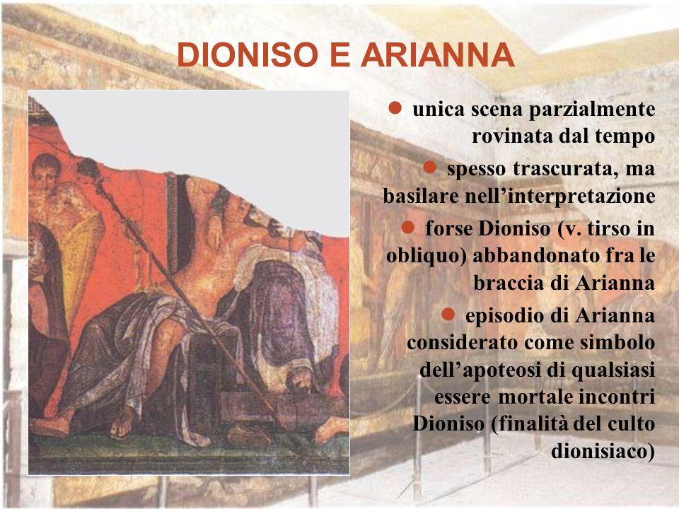 DIONISO E ARIANNA unica scena parzialmente rovinata dal tempo spesso trascurata, ma basilare nellinterpretazione forse Dioniso (v. tirso in obliquo) a