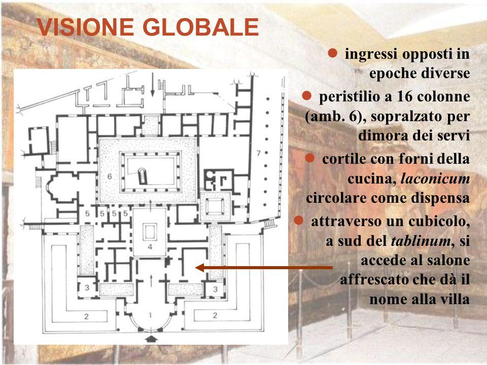 VISIONE GLOBALE ingressi opposti in epoche diverse peristilio a 16 colonne (amb. 6), sopralzato per dimora dei servi cortile con forni della cucina, l