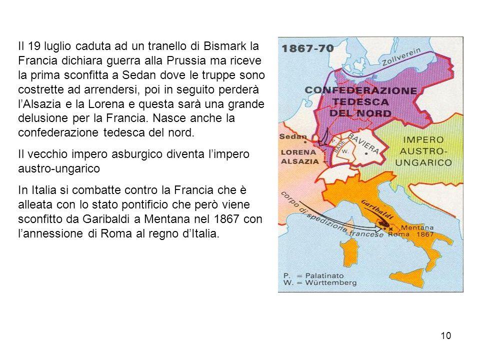 10 Il 19 luglio caduta ad un tranello di Bismark la Francia dichiara guerra alla Prussia ma riceve la prima sconfitta a Sedan dove le truppe sono cost