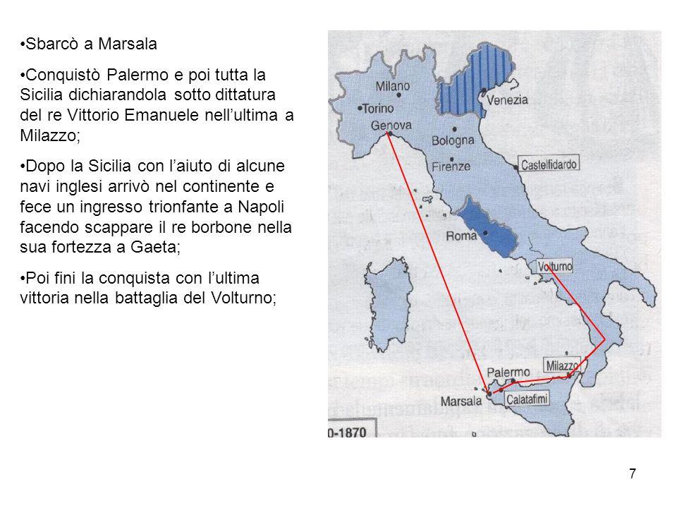7 Sbarcò a Marsala Conquistò Palermo e poi tutta la Sicilia dichiarandola sotto dittatura del re Vittorio Emanuele nellultima a Milazzo; Dopo la Sicil