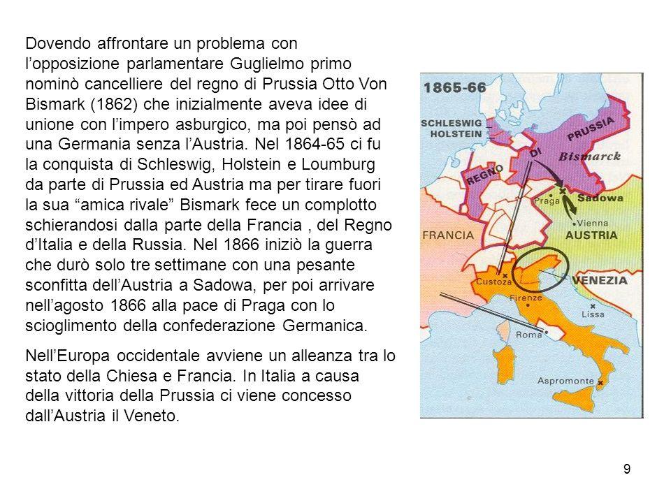 9 Dovendo affrontare un problema con lopposizione parlamentare Guglielmo primo nominò cancelliere del regno di Prussia Otto Von Bismark (1862) che ini