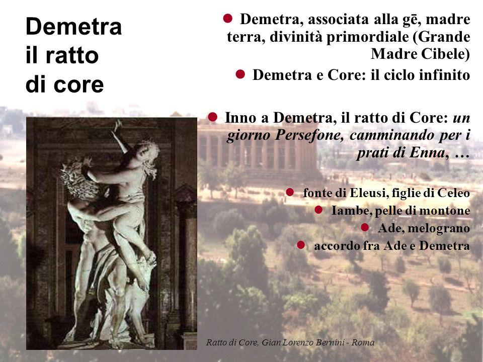 Demetra il ratto di core Demetra, associata alla gē, madre terra, divinità primordiale (Grande Madre Cibele) Demetra e Core: il ciclo infinito Inno a Demetra, il ratto di Core: un giorno Persefone, camminando per i prati di Enna, … fonte di Eleusi, figlie di Celeo Iambe, pelle di montone Ade, melograno accordo fra Ade e Demetra Ratto di Core, Gian Lorenzo Bernini - Roma