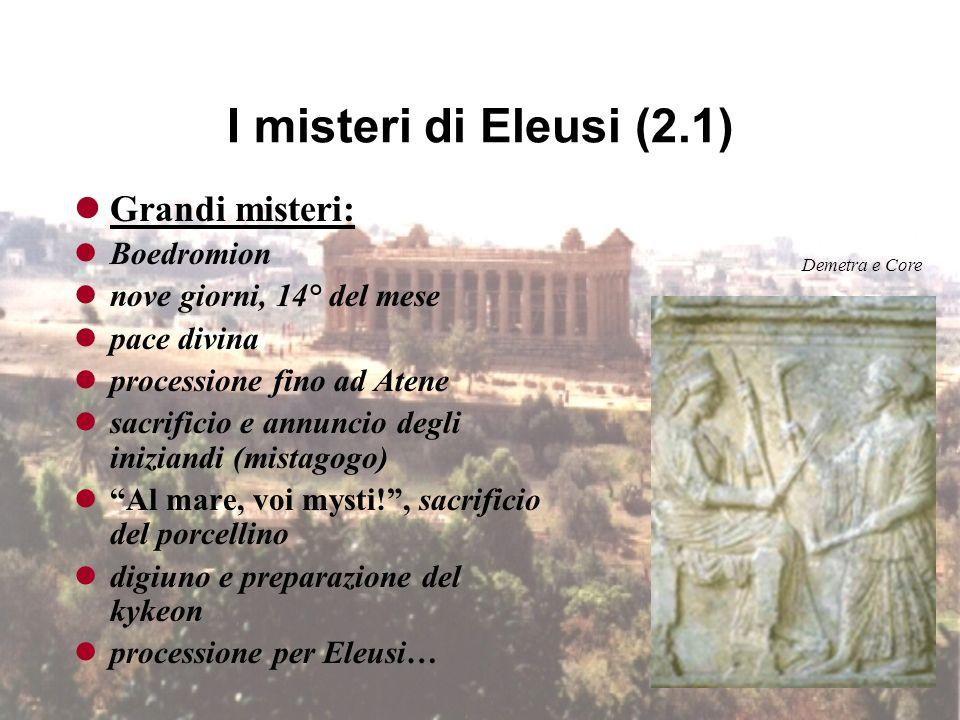 I misteri di Eleusi (1) Piccoli misteri: Anthesterion preparazione per gli iniziati, istruzione al mito purificazioni, digiuni, sacrifici Ade e Persef