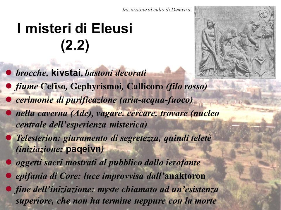 I misteri di Eleusi (2.1) Grandi misteri: Boedromion nove giorni, 14° del mese pace divina processione fino ad Atene sacrificio e annuncio degli inizi