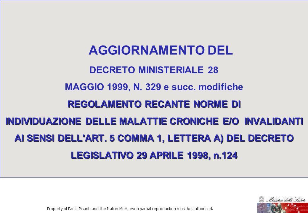 REGOLAMENTO RECANTE NORME DI INDIVIDUAZIONE DELLE MALATTIE CRONICHE E/O INVALIDANTI AI SENSI DELL'ART. 5 COMMA 1, LETTERA A) DEL DECRETO LEGISLATIVO 2