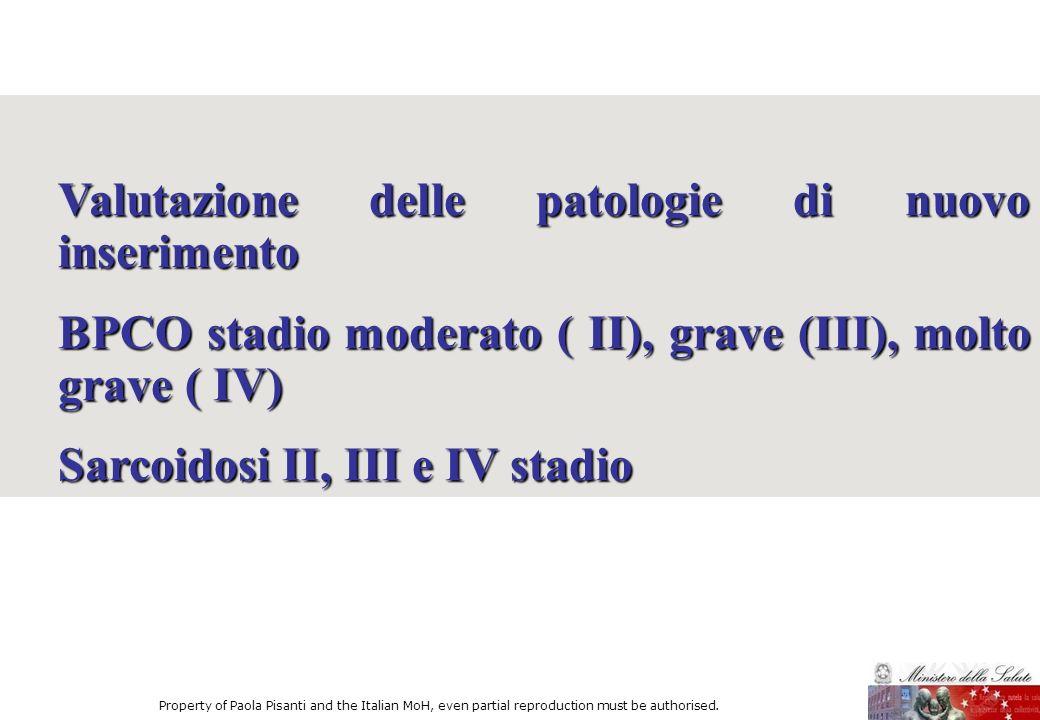 Valutazione delle patologie di nuovo inserimento BPCO stadio moderato ( II), grave (III), molto grave ( IV) Sarcoidosi II, III e IV stadio Property of
