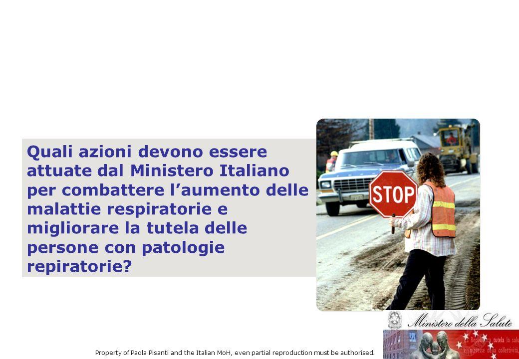 Quali azioni devono essere attuate dal Ministero Italiano per combattere laumento delle malattie respiratorie e migliorare la tutela delle persone con