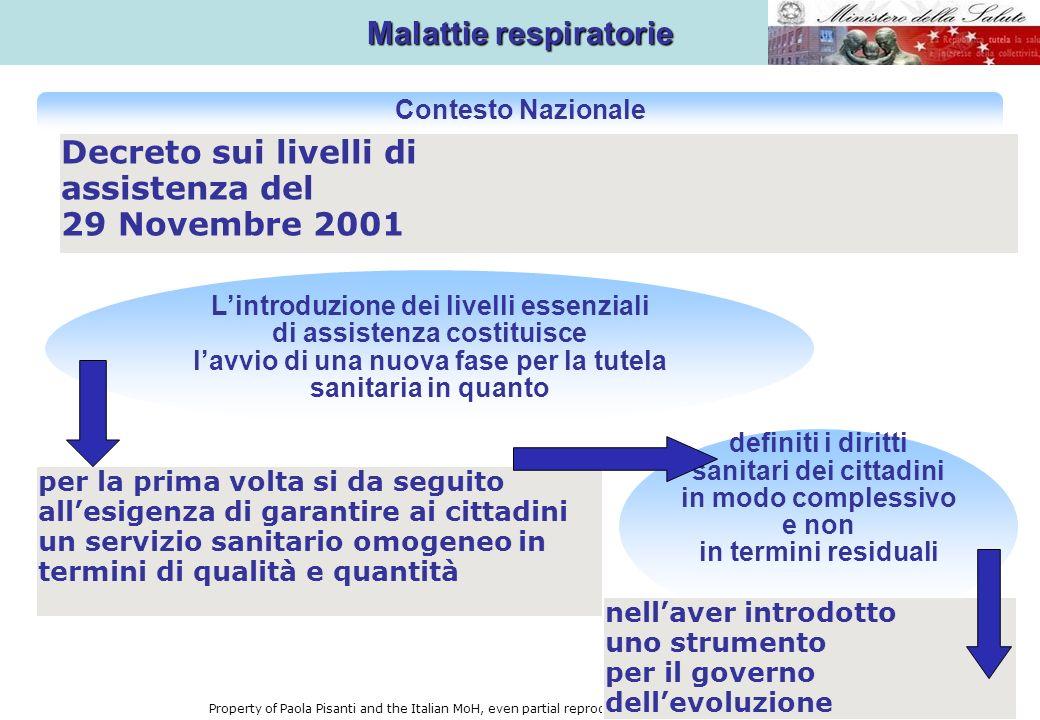 TUMORI LE GRANDI PATOLOGIE PIANO SANITARIO NAZIONALE 2006-2008 MALATTIE CARDIOVASCOLARI MALATTIE RESPIRATORIE DIABETE Property of Paola Pisanti and the Italian MoH, even partial reproduction must be authorised.