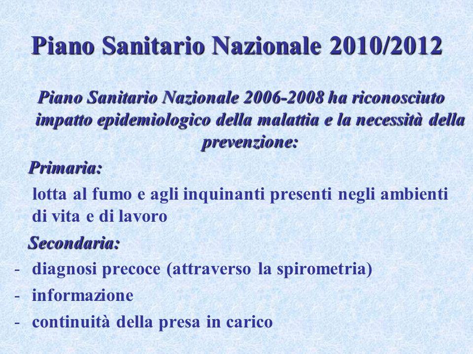 Piano Sanitario Nazionale 2010/2012 Piano Sanitario Nazionale 2006-2008 ha riconosciuto impatto epidemiologico della malattia e la necessità della pre