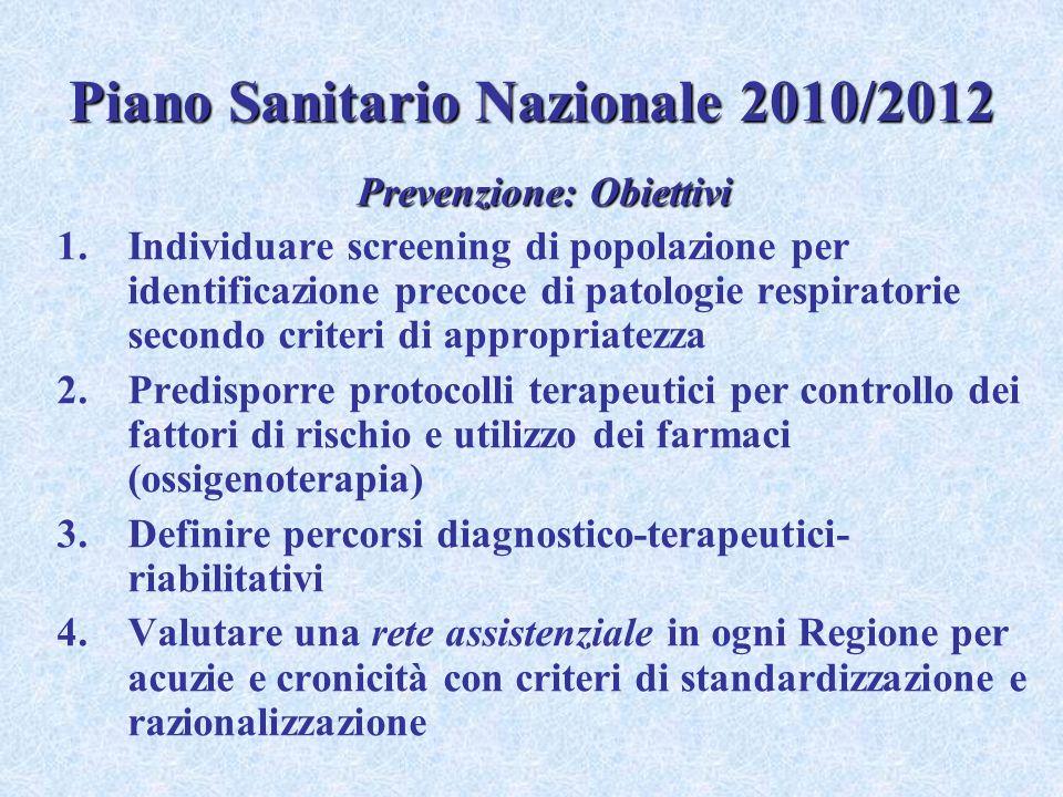 Piano Sanitario Nazionale 2010/2012 Prevenzione: Obiettivi 1.Individuare screening di popolazione per identificazione precoce di patologie respiratori