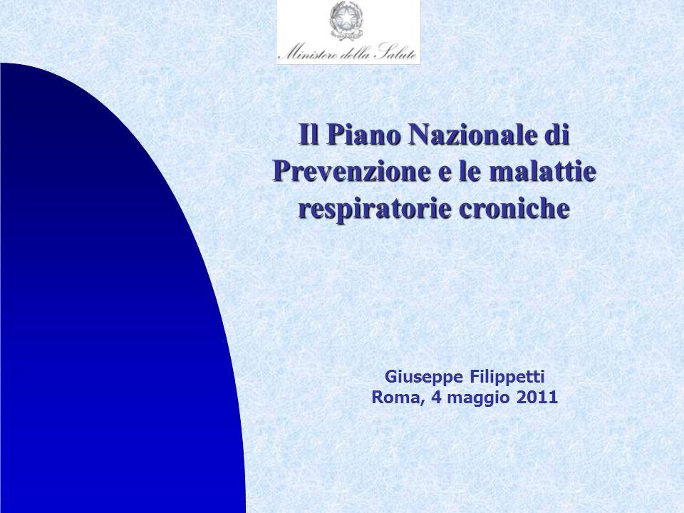 Il Piano Nazionale di Prevenzione e le malattie respiratorie croniche Giuseppe Filippetti Roma, 4 maggio 2011