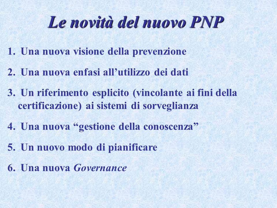 Le novità del nuovo PNP 1. Una nuova visione della prevenzione 2. Una nuova enfasi allutilizzo dei dati 3. Un riferimento esplicito (vincolante ai fin