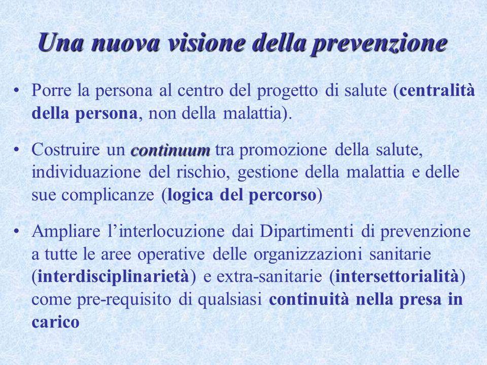 Porre la persona al centro del progetto di salute (centralità della persona, non della malattia). continuumCostruire un continuum tra promozione della