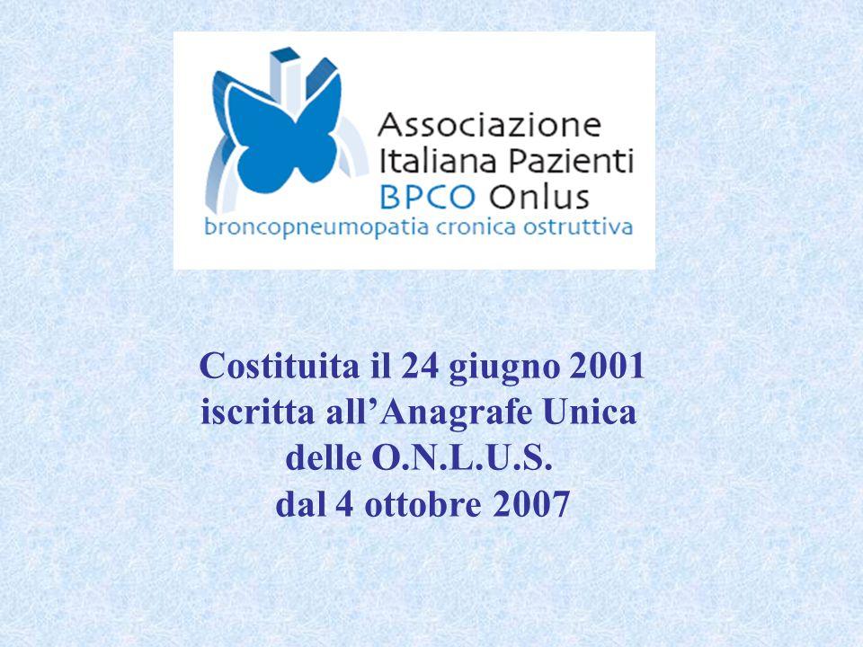 Costituita il 24 giugno 2001 iscritta allAnagrafe Unica delle O.N.L.U.S. dal 4 ottobre 2007