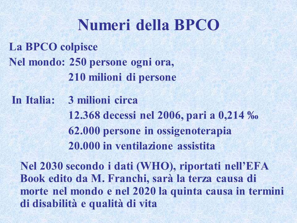 Numeri della BPCO La BPCO colpisce Nel mondo: 250 persone ogni ora, 210 milioni di persone In Italia:3 milioni circa 12.368 decessi nel 2006, pari a 0