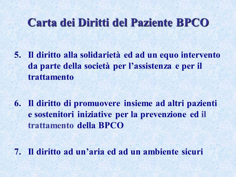 Carta dei Diritti del Paziente BPCO 5.Il diritto alla solidarietà ed ad un equo intervento da parte della società per lassistenza e per il trattamento