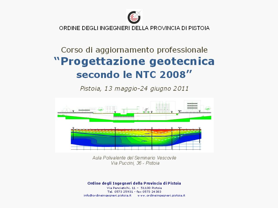32/ Corso di aggiornamento professionale: Progettazione geotecnica secondo le NTC 2008 Pistoia, 27 maggio 2011 Giovanni Vannucchi Fondazioni profonde: Progettazione, esecuzione e verifica.