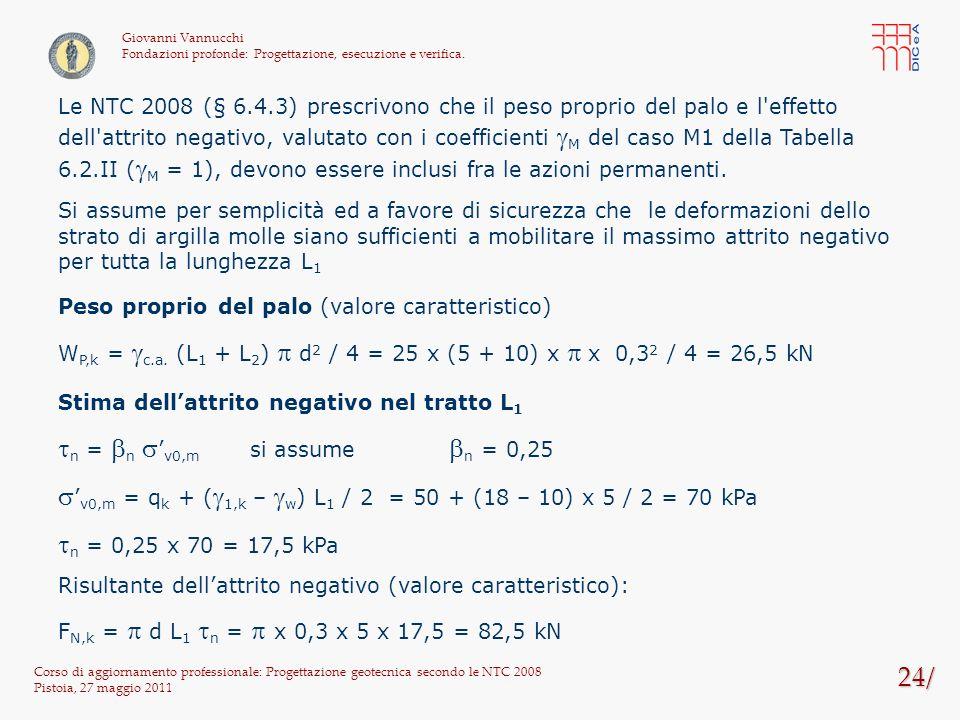 24/ Corso di aggiornamento professionale: Progettazione geotecnica secondo le NTC 2008 Pistoia, 27 maggio 2011 Giovanni Vannucchi Fondazioni profonde: