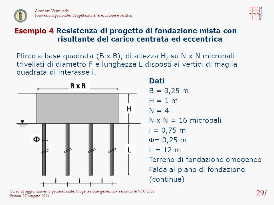 29/ Corso di aggiornamento professionale: Progettazione geotecnica secondo le NTC 2008 Pistoia, 27 maggio 2011 Giovanni Vannucchi Fondazioni profonde: