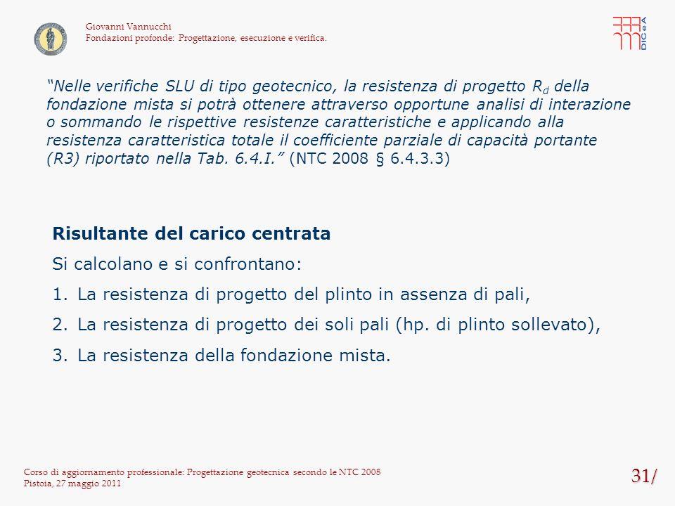 31/ Corso di aggiornamento professionale: Progettazione geotecnica secondo le NTC 2008 Pistoia, 27 maggio 2011 Giovanni Vannucchi Fondazioni profonde: