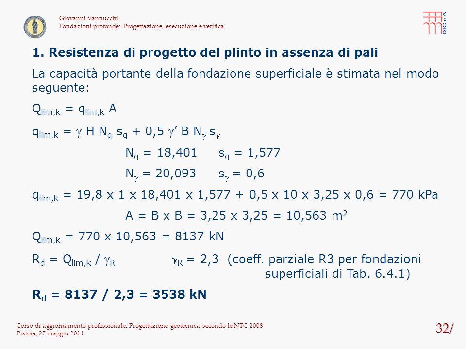 32/ Corso di aggiornamento professionale: Progettazione geotecnica secondo le NTC 2008 Pistoia, 27 maggio 2011 Giovanni Vannucchi Fondazioni profonde: