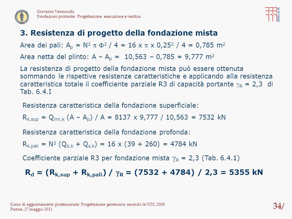34/ Corso di aggiornamento professionale: Progettazione geotecnica secondo le NTC 2008 Pistoia, 27 maggio 2011 Giovanni Vannucchi Fondazioni profonde: