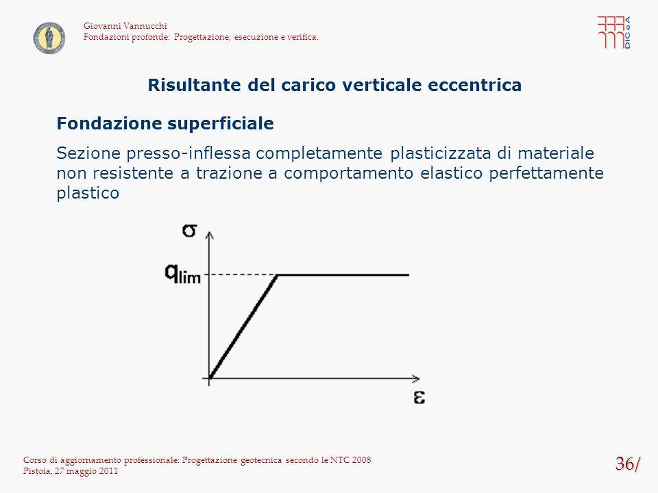 36/ Corso di aggiornamento professionale: Progettazione geotecnica secondo le NTC 2008 Pistoia, 27 maggio 2011 Giovanni Vannucchi Fondazioni profonde: