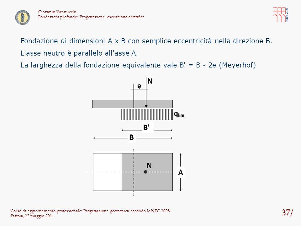 37/ Corso di aggiornamento professionale: Progettazione geotecnica secondo le NTC 2008 Pistoia, 27 maggio 2011 Giovanni Vannucchi Fondazioni profonde:
