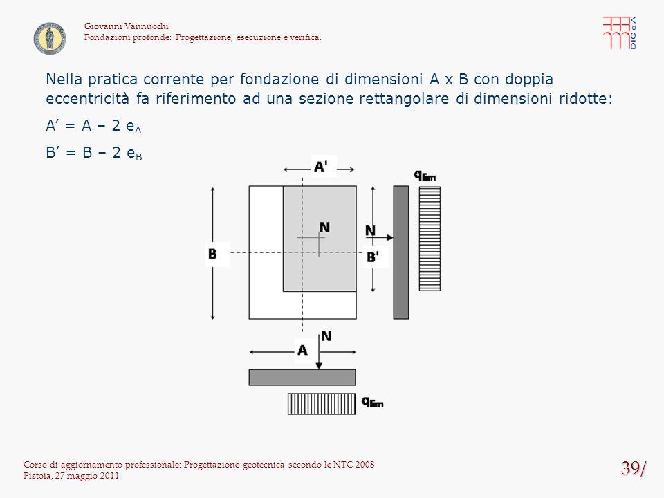 39/ Corso di aggiornamento professionale: Progettazione geotecnica secondo le NTC 2008 Pistoia, 27 maggio 2011 Giovanni Vannucchi Fondazioni profonde: