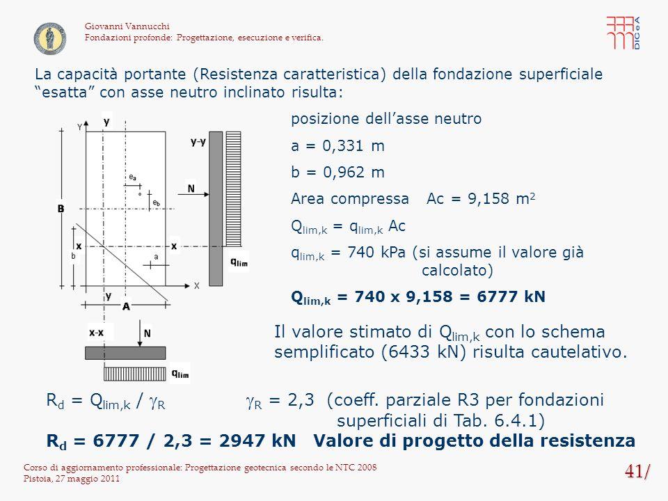 41/ Corso di aggiornamento professionale: Progettazione geotecnica secondo le NTC 2008 Pistoia, 27 maggio 2011 Giovanni Vannucchi Fondazioni profonde: