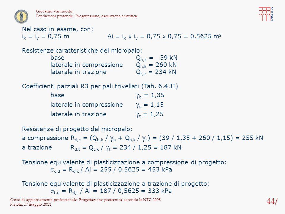 44/ Corso di aggiornamento professionale: Progettazione geotecnica secondo le NTC 2008 Pistoia, 27 maggio 2011 Giovanni Vannucchi Fondazioni profonde: