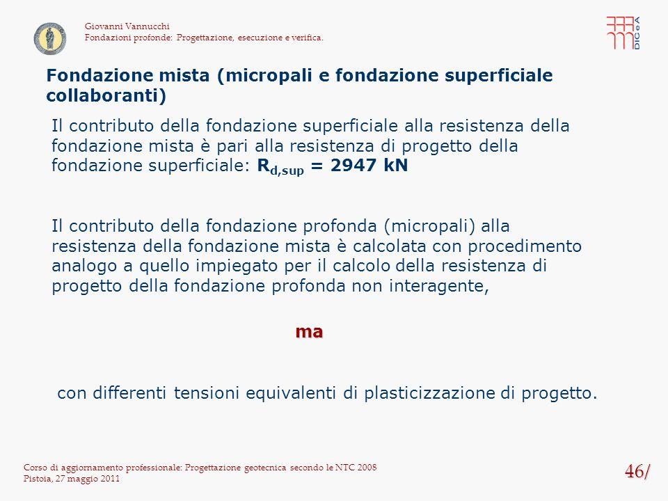 46/ Corso di aggiornamento professionale: Progettazione geotecnica secondo le NTC 2008 Pistoia, 27 maggio 2011 Giovanni Vannucchi Fondazioni profonde: