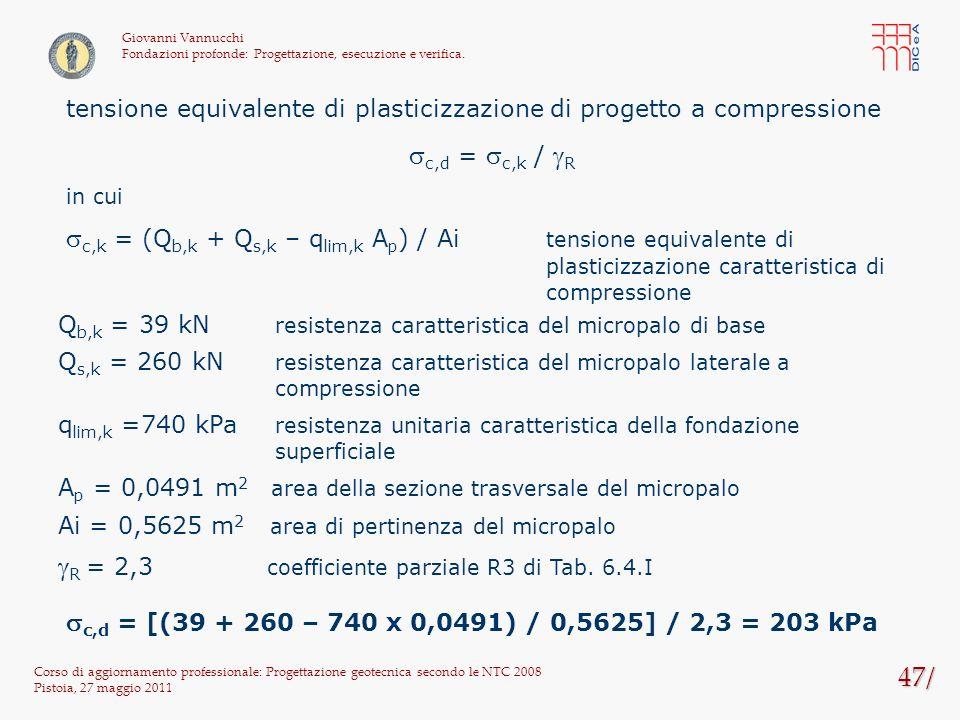 47/ Corso di aggiornamento professionale: Progettazione geotecnica secondo le NTC 2008 Pistoia, 27 maggio 2011 Giovanni Vannucchi Fondazioni profonde: