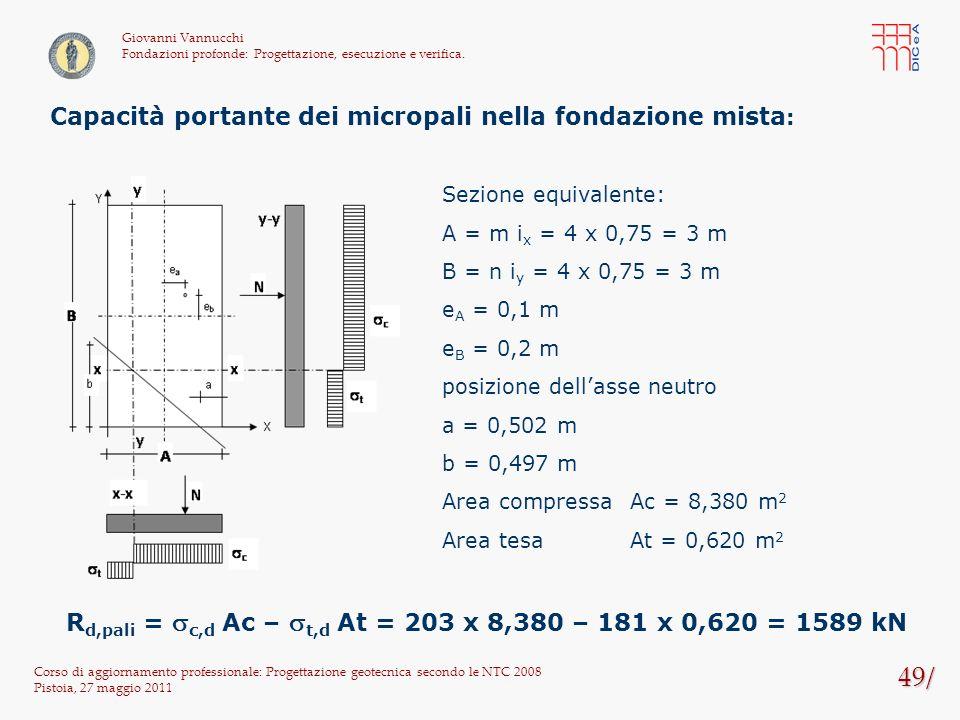 49/ Corso di aggiornamento professionale: Progettazione geotecnica secondo le NTC 2008 Pistoia, 27 maggio 2011 Giovanni Vannucchi Fondazioni profonde: