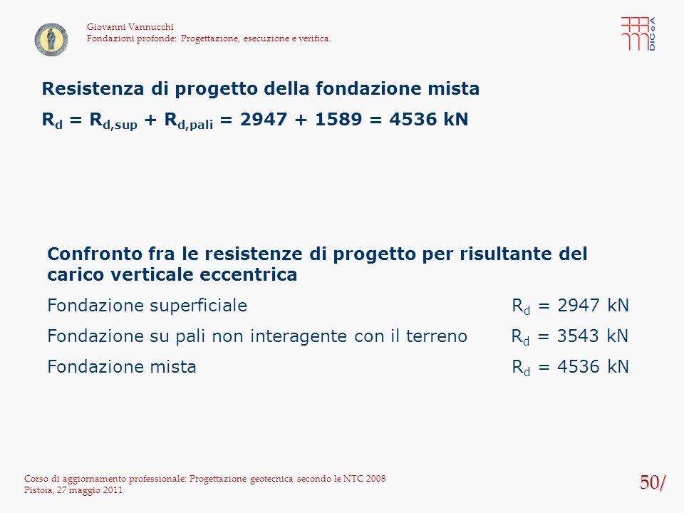 50/ Corso di aggiornamento professionale: Progettazione geotecnica secondo le NTC 2008 Pistoia, 27 maggio 2011 Giovanni Vannucchi Fondazioni profonde:
