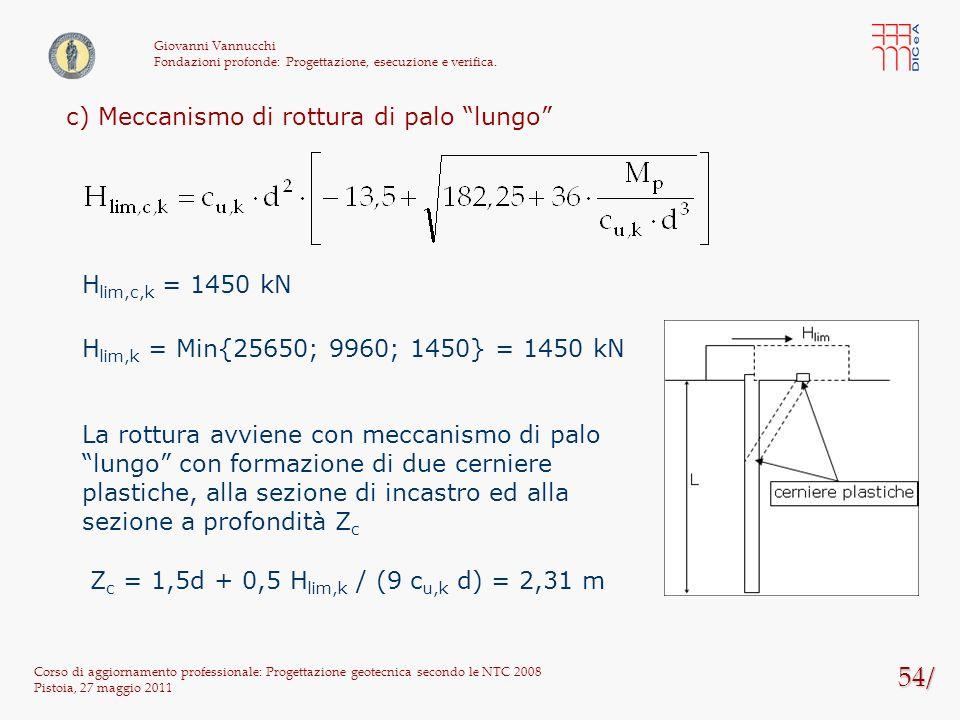 54/ Corso di aggiornamento professionale: Progettazione geotecnica secondo le NTC 2008 Pistoia, 27 maggio 2011 Giovanni Vannucchi Fondazioni profonde: