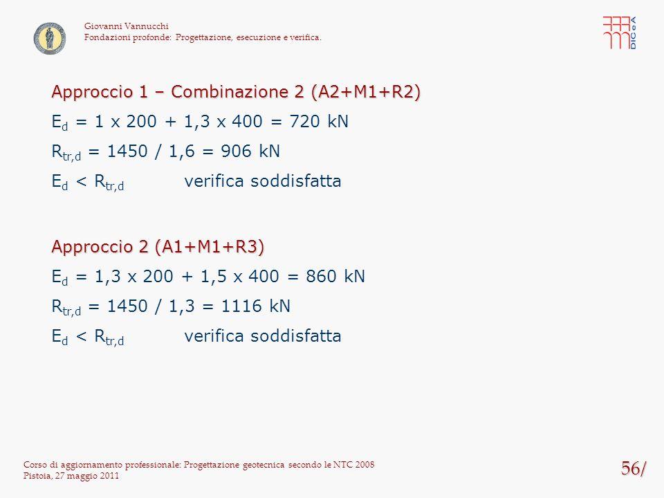 56/ Corso di aggiornamento professionale: Progettazione geotecnica secondo le NTC 2008 Pistoia, 27 maggio 2011 Giovanni Vannucchi Fondazioni profonde: