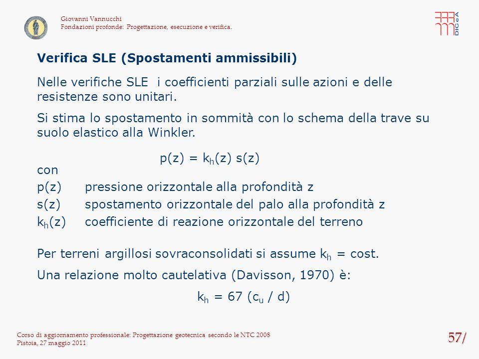 57/ Corso di aggiornamento professionale: Progettazione geotecnica secondo le NTC 2008 Pistoia, 27 maggio 2011 Giovanni Vannucchi Fondazioni profonde: