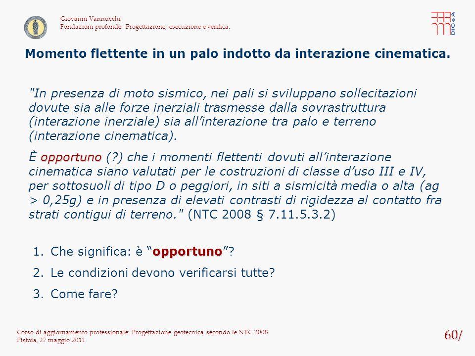 60/ Corso di aggiornamento professionale: Progettazione geotecnica secondo le NTC 2008 Pistoia, 27 maggio 2011 Giovanni Vannucchi Fondazioni profonde: